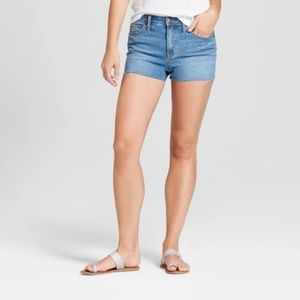 Women's High-Rise Raw Hem Jean Shorts -Medium Wash
